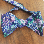 hand made purple floral bow tie