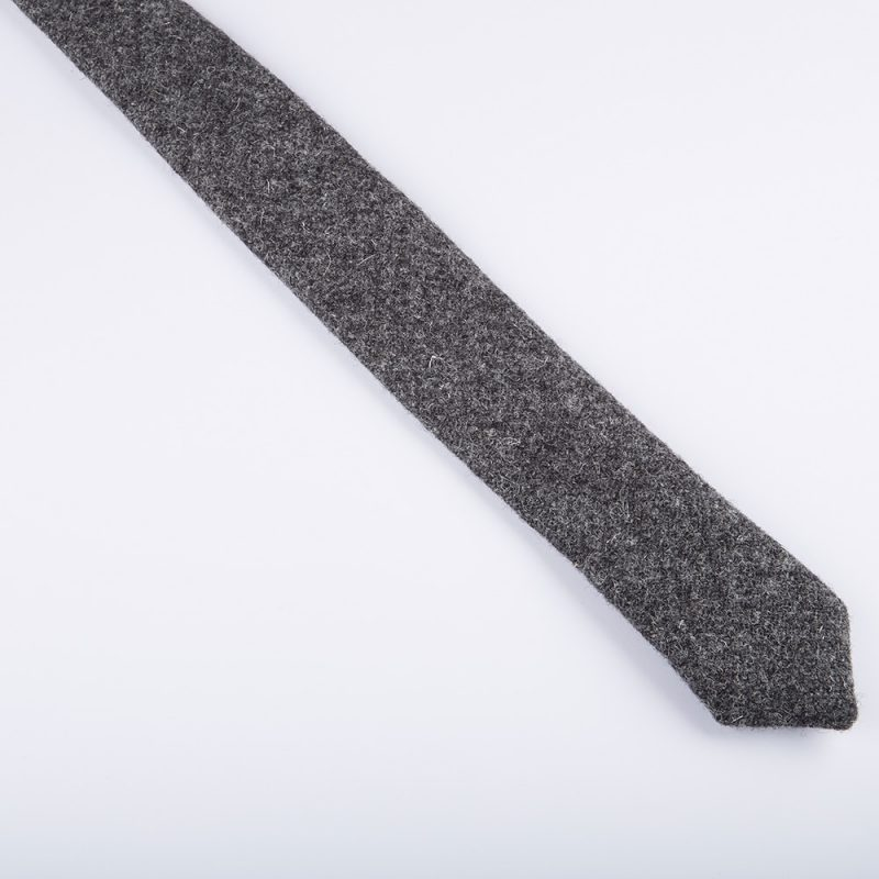 Charcoal Harris Tweed Wool Tie.