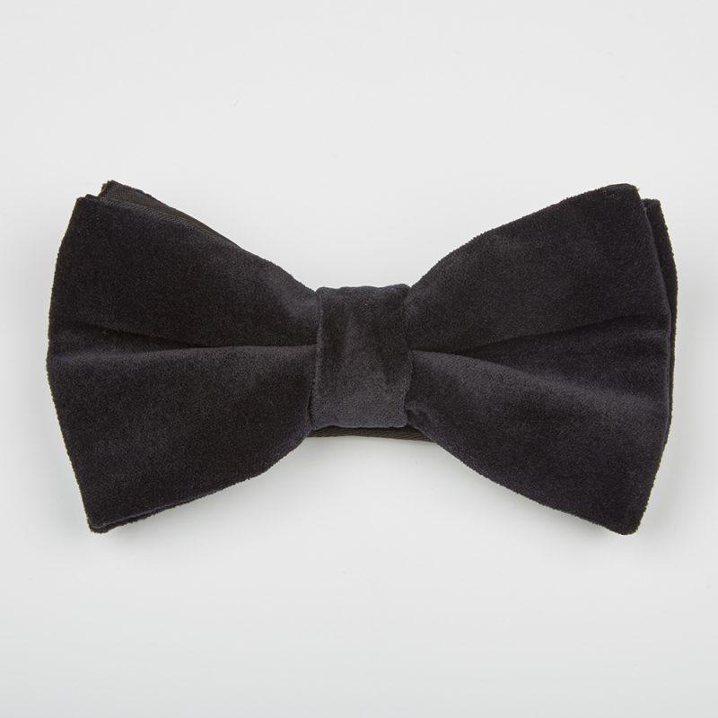 Jet Black Velvet Bow Tie.