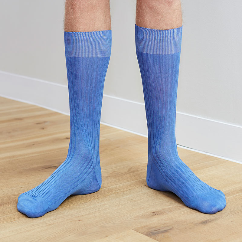 Ribbed Denim Socks